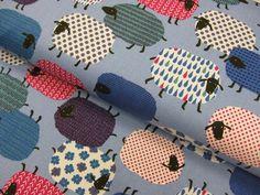 Stoff Tiermotive - Schafe, Dekostoff hellblau ♥ 0,5m x1,1m, Cosmo - ein Designerstück von Schwesterlich bei DaWanda