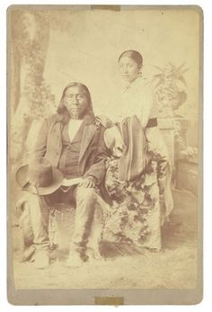 Little Raven and his daughter Annie - Arapaho - 1885. Medicine Lodge Peace Treaty