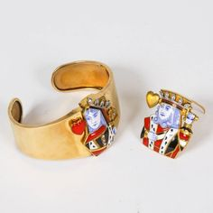 Late 1930s Cartier of Paris Gold, Diamond and Enamel King and Queen of Hearts Bracelet Set