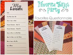 How to host a favorite things party - love these ideas.. and especially the simple questionnaire.