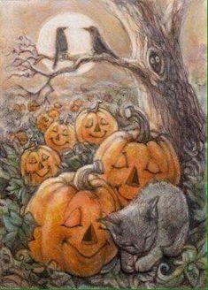 "Cat Art by Lynn Bonnette ""Dreams of Halloween"" by marva Samhain Halloween, Spirit Halloween, Holidays Halloween, Spooky Halloween, Vintage Halloween, Halloween Pumpkins, Happy Halloween, Halloween Decorations, Halloween Artwork"