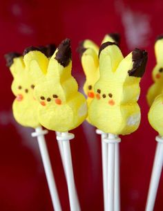Pikachu Peeps at a Pokemon birthday party! See more party ideas at CatchMyParty.com!