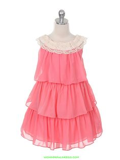 48c3ce0c0b6 Girls Dress Style Chiffon Sleeveless Tiered Dress - Corals