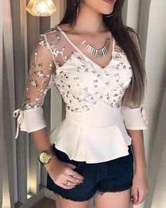 Floral Embroidery Sheer Mesh Ruffles Blouse Women's Best Online Shopping - Offering Huge Discounts on Dresses, Lingerie , Jumpsuits , Swimwear, Tops and More. Trend Fashion, Look Fashion, Curvy Fashion, Editorial Fashion, Fashion Inspiration, Fashion Ideas, Winter Fashion, Fashion Design, Blouse Styles