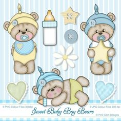 *New* Sweet Baby Boy Bears - Clip Art