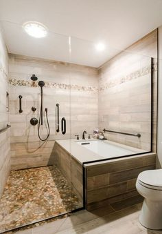 Trendy bathroom shower tub combo walk in Wood Tile Shower, Bathroom Tub Shower, Small Bathroom With Shower, Wood Bathroom, Bathroom Flooring, Bathroom Ideas, Shower Ideas, Bath Tubs, Master Shower