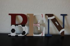Sports themed nursery letters by LoveBbyCarrie on Etsy, $13.00