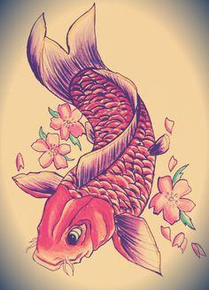 Koi fish tattoo design. http://ahsr.deviantart.com/art/Koi-tattoo-design-361487445