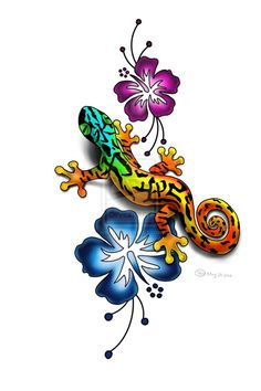 Gecko And Hibiscus Tattoo Design By Lauzon Tattoology- I like the flowers Frog Tattoos, Love Tattoos, Body Art Tattoos, Small Tattoos, Tattoos For Women, Key Tattoos, Tattoo Gecko, Lizard Tattoo, Hawaiianisches Tattoo