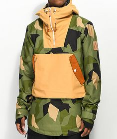 Check out the water and wind-resistant anorak snow jacket from CLWR which features a stylish asymmetrical print for a distinguished mountain look. Spring Fashion Outfits, Winter Fashion, Mens Ski Clothes, Underwear Storage, Pullover Designs, Snowboarding Gear, Men's Fashion Brands, Daily Fashion, Jackets