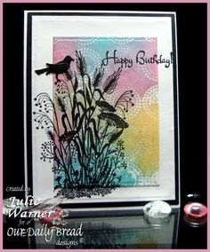 handcrafted card: Birthday Silhouette from justwritedesigns  ... luv the watercolor background using the embossing folder as a stamp ... wonderful card!