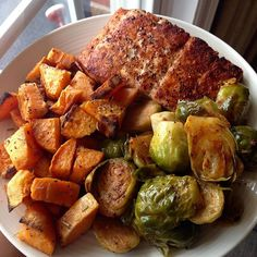 Check this out on Instagram.com...Grilled salmon with roasted sweet potatoes and Brussels sprouts.