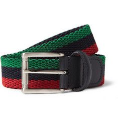 Anderson'sLeather-Trimmed Elasticated Woven Belt