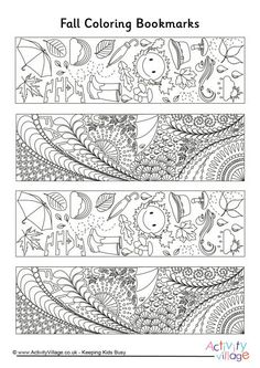 Fall doodle colouring bookmarks