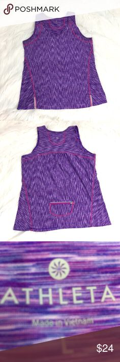 """Athleta purple workout fitness running top size L EUC Athleta workout athletic fitness top sz L.  Approximate flat lay measurements: armpit to armpit 19"""", shoulder to hem 26"""".  Cute up let on lower ack. Athleta Tops Tank Tops"""