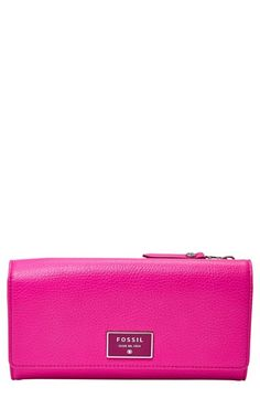 Hot pink flap Fossil wallet