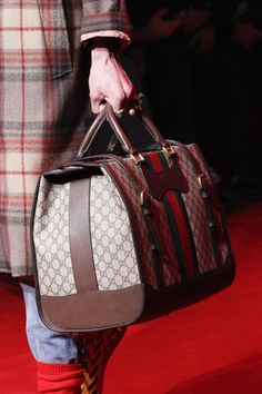 Best Man-Totes for Fall 2016. Gucci. More Hot Fashion Trends @ www.rickysturn.com/mens-fashion Fall 2016 Menswear Fashion Show Details
