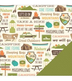 American Crafts Travel Camping Signs Double-Sided Cardstock