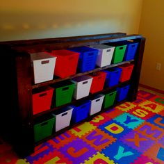 Dollar Tree buckets for organizing pantry, linen closet...  attach labels with ribbons