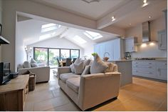 vaulted ceiling and roof lights really adds to the sense of space this extension has created. I searched for this on /images Open Plan Kitchen Living Room, Kitchen Dining Living, Open Plan Living, Dining Room, House Extension Design, Roof Extension, House Design, Extension Ideas, Orangery Extension