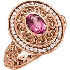 14kt Rose Gold Pink Tourmaline & Diamond Ring
