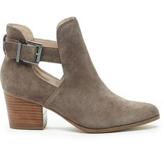 Sole Society Olive Cut-Out Bootie (135 CAD) ❤ liked on Polyvore featuring shoes, boots, ankle booties, heels, ankle boots, zapatos, dark taupe, cut out ankle boots, summer ankle boots and suede boots
