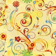 Retro Boho - Multi-Color Scrolls on Yellow