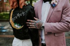 Leather Jacket Bride Bridal Painted Personalised Moon Celestial Neon Sign Wedding Ideas State Of Love and Trust Photography Luxury Wedding Cake, Dream Wedding, Aisle Style, Wedding Jacket, Painting Leather, Alternative Wedding, Wedding Dress Styles, Bridal Accessories, Leather Jacket