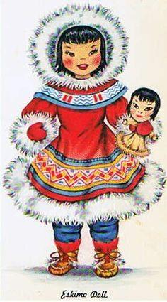 "Vintage ""Dolls of the World"" postcard. Celebration Around The World, Seasonal Celebration, Etsy Vintage, Vintage Art, Paper Doll Costume, Penguins And Polar Bears, Eskimo, Polo Norte, Native American Dolls"