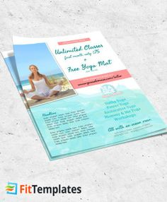 Beach yoga studio flyer template in watercolor print from FitTemplates.com