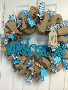 Peacock Sparkly Blue Welcome Wreath