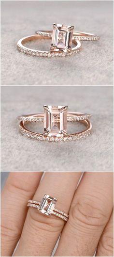 2pc 6x8mm Morganite Engagement ring set Rose gold / http://www.deerpearlflowers.com/emerald-cut-engagement-rings/2/