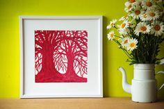 Handprinted Reduction Linocut by Eveline van der Eijk