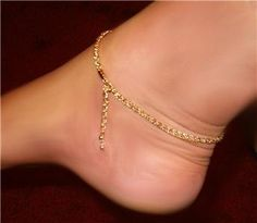 18 karat Gold gep french ROPE ANKLET simple crystal on Etsy, $19.99