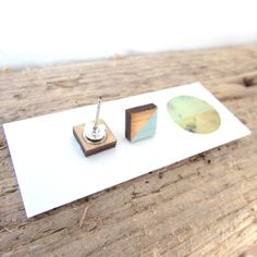 Square Bamboo Earrings | Hand Painted in teal | Laser Cut | Hand Made |10mm Photo On Wood, Wood Print, Laser Cutting, Bamboo, Jewelry Making, Teal, Place Card Holders, Stud Earrings, Hand Painted