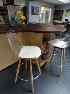 Eugene Modern Monkey: Modernica Bar Stools: Eames Wire Chair