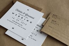 Letterpress Wedding Invitations /// Made to order by MapleTea
