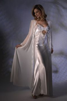 White Satin Nightgown With Sheer Chiffon Robe