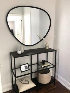 Industrial Wall Mirrors, Industrial Metal, Living Room Decor, Bedroom Decor, Hallway Inspiration, Hallway Designs, Aesthetic Room Decor, My New Room, Black Metal