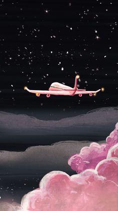 Noche Avión Rosa Fondos Wallpapers