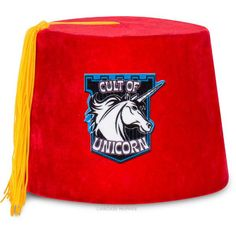 Are you a secret unicorn? The Cult of Unicorn Fez tells the world that even though they can't see your horn, you're a unicorn inside. This swanky red velour fez is soft to the touch and exudes class. It fits an average-sized adult head, but also looks pretty good perched precariously on an oversized noggin. For some people, wearing a plain fez is not enough, they have so much more nerdy weirdness to express! Fezzes are cool!