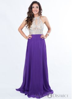 Halter Long Dress Purple F