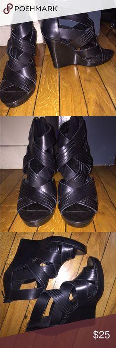 Wedge sandals All black wedge heels. Aldo Shoes Wedges