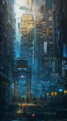 sci fi city / cyberpunk cityscape / Eastern urban / city lights / digital art Source by Cyberpunk City, Ville Cyberpunk, Cyberpunk Kunst, Futuristic City, Cyberpunk Anime, Environment Concept, Environment Design, Fantasy Landscape, Landscape Art