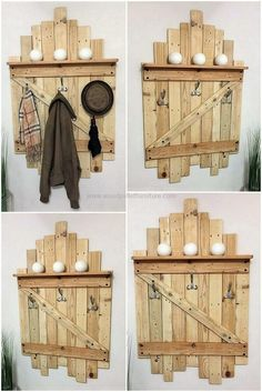 Wood pallets shelf and hanger plan is the most important furniture and need of every home. We are presenting this pallets shelf to place your essential items and to hang your coats, shirts, and other clothing suits in a precise manner. You can easily use this pallets shelf to keep your car, bike keys on it.