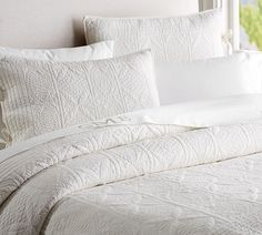 Hanna Wholecloth Quilted Sham, Standard, Ivory At Pottery Barn - Bedding - Quilts Guest Bed, Guest Room, Quilted Pillow, Pottery Barn, Blue Pottery, Home Furniture, Outdoor Furniture, Bed Pillows, Bed Linens