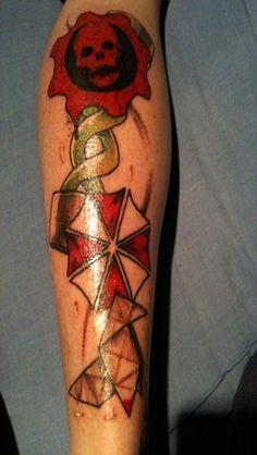 Gears of war, heavy rain & resident evil. Very slick Video Game Tattoos, Tattoo Videos, Rain Tattoo, Tattoo Ink, Cool Tats, Awesome Tattoos, Nerdy Tattoos, Gears Of War, Piercing Tattoo