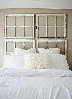 window panes headboard - A New Headboard by Bedtime: 12 Unusual & Affordable DIY Headboard Ideas