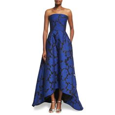 Oscar De La Renta Strapless Floral Jacquard High-Low Gown ($5,990) ❤ liked on Polyvore featuring dresses, gowns, blue, floral gown, floral evening gown, blue gown, a line dress and blue ball gown
