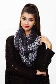 Burning Desire White Black Animal Infinity Scarf only $8.99